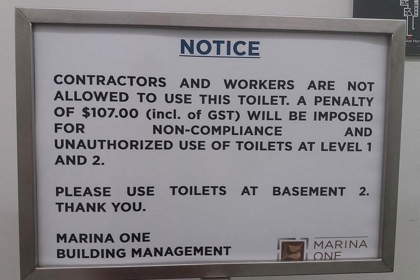 Many Facebook users were furious when a photo of this sign at the new Marina One centre went viral on the social media site.