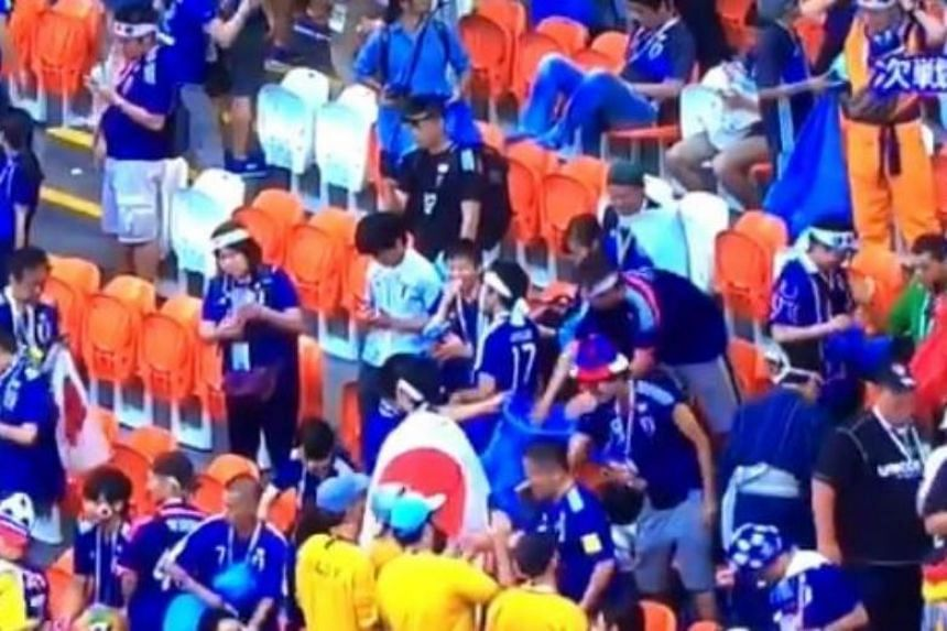 Videos posted on social media sites Twitter and YouTube showed cheery Japanese fans walking around the stands of the Mordovia Arena in Russia, picking up litter and placing it into blue trash bags as they celebrated their nation's victory.