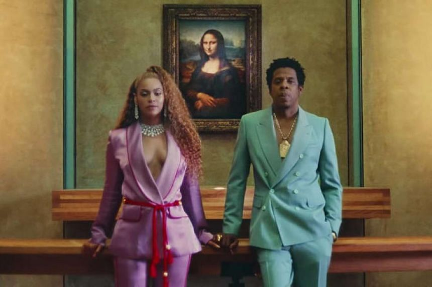Beyonce and Jay-Z in the music video for Apes***, the lead single from the couple's new album, Everything Is Love.