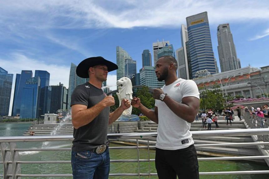 Donald Cerrone (left) and Leon Edwards of Britain (right) have begun trading verbal blows ahead of their anticipated bout in Singapore.