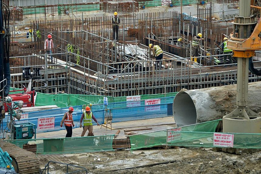 Workers at a construction site in Eunos. Six workplace deaths in the construction sector were reported in the first five months of 2018.