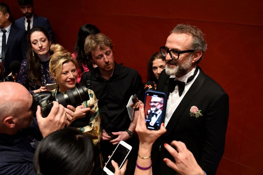 Italian chef Massimo Bottura talks to the press after receiving the Best Restaurant award for his restaurant L´Osteria Francescana during the World's 50 Best Restaurants awards in Bilbao, on June 19, 2018.