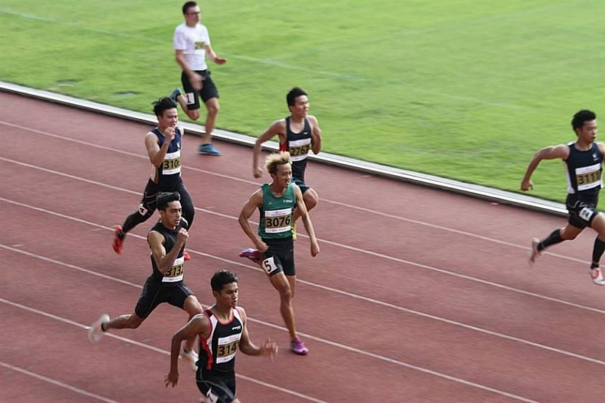 Runners in action at Bishan Stadium seen in a photo posted on Facebook, on March 18, 2018.