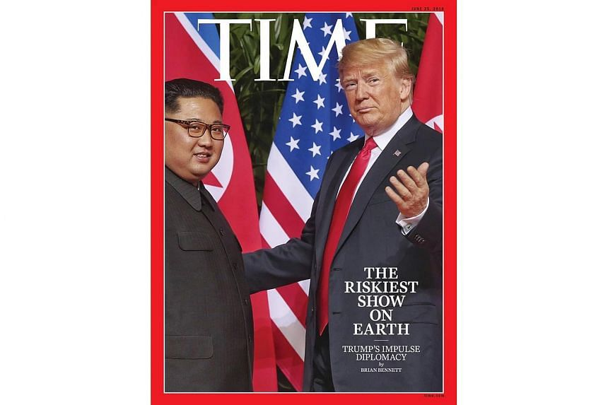 The Straits Times executive photojournalist Kevin Lim's shot of the two leaders meeting in the courtyard of the Capella Singapore hotel on Sentosa last Tuesday was used by The Daily Telegraph, The Courier Mail and Time magazine.