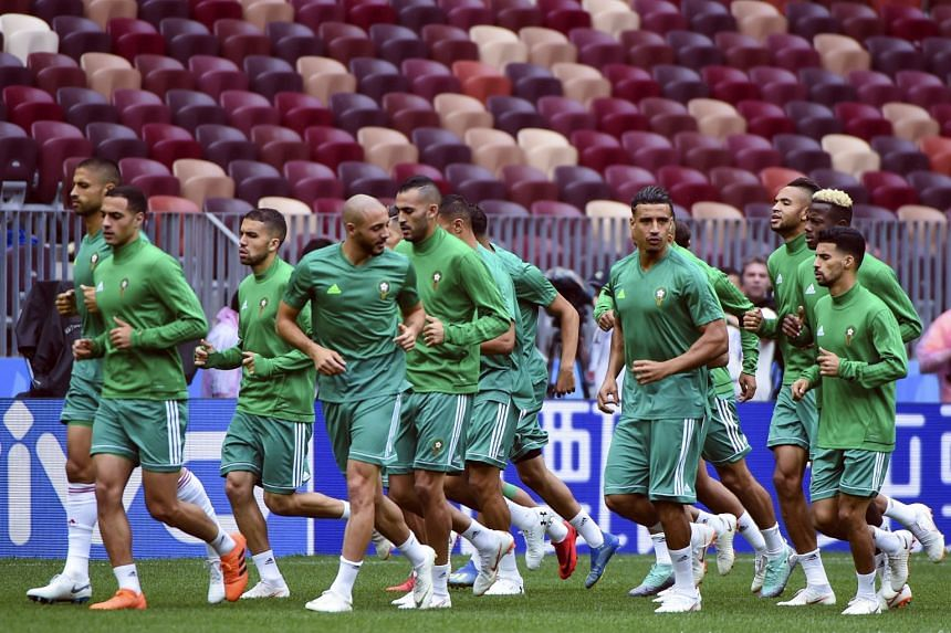 Morocco's players attend a training session at the Luzhniki Stadium in Moscow, on June 19, 2018.