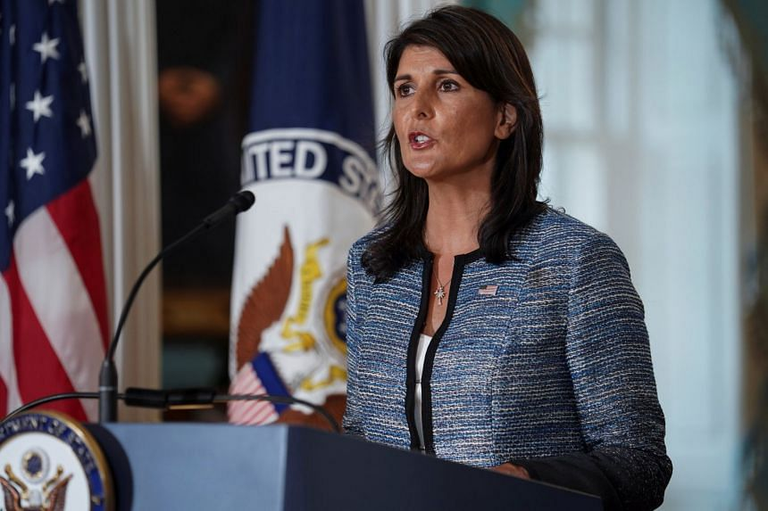 US Ambassador to the United Nations Nikki Haley delivers remarks to the press, announcing the US' withdrawal from the UN Human Rights Council, on June 19, 2018.