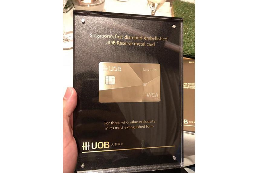 """The plaque proclaimed that the UOB Reserve metal card was """"for those who value exclusivity in it's most extinguished form""""."""