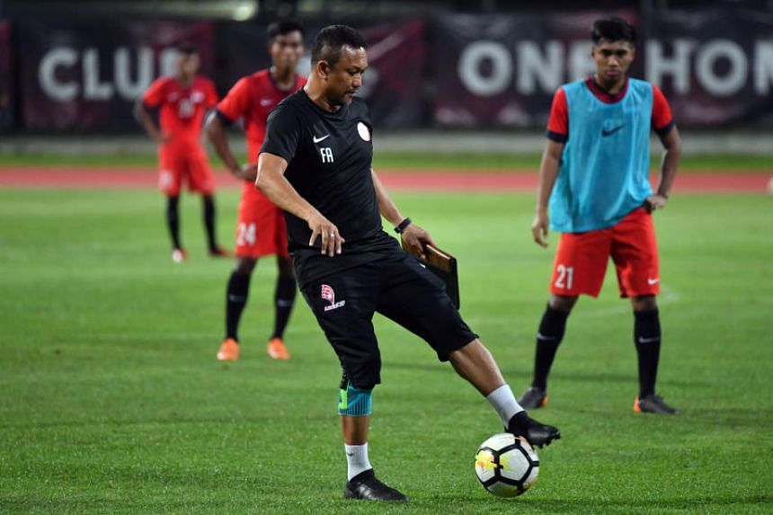 Singapore's U-23 team coach Fandi Ahmad at a training session in Bishan Stadium on June 19, 2018. Although Fandi Ahmad's men enjoyed home advantage, it was the visitors who were more incisive in attack.