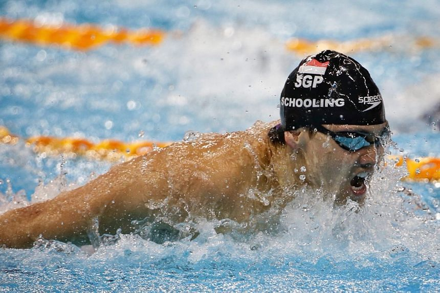 Joseph Schooling in action during the 100m men's butterfly event at the NEO Garden 14th Singapore National Swimming Championships, on June 21, 2018.