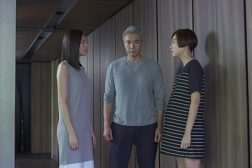 (Top, from left) Jesseca Liu, Tay Ping Hui and Ya Hui are involved in a love triangle in Babies On Board. (Above) Chen Xiuhuan makes a comeback in Fifty And Fabulous.