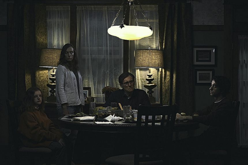 (From left) Milly Shapiro, Toni Collette, Gabriel Byrne and Alex Wolff in Hereditary.