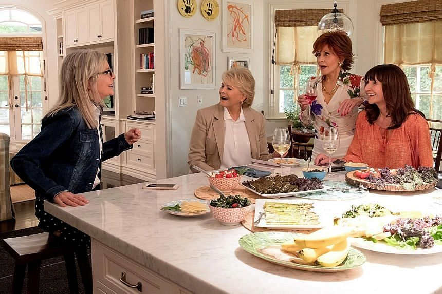 (From far left) Diane Keaton, Candice Bergen, Jane Fonda and Mary Steenburgen are introduced to Fifty Shades Of Grey in Book Club.