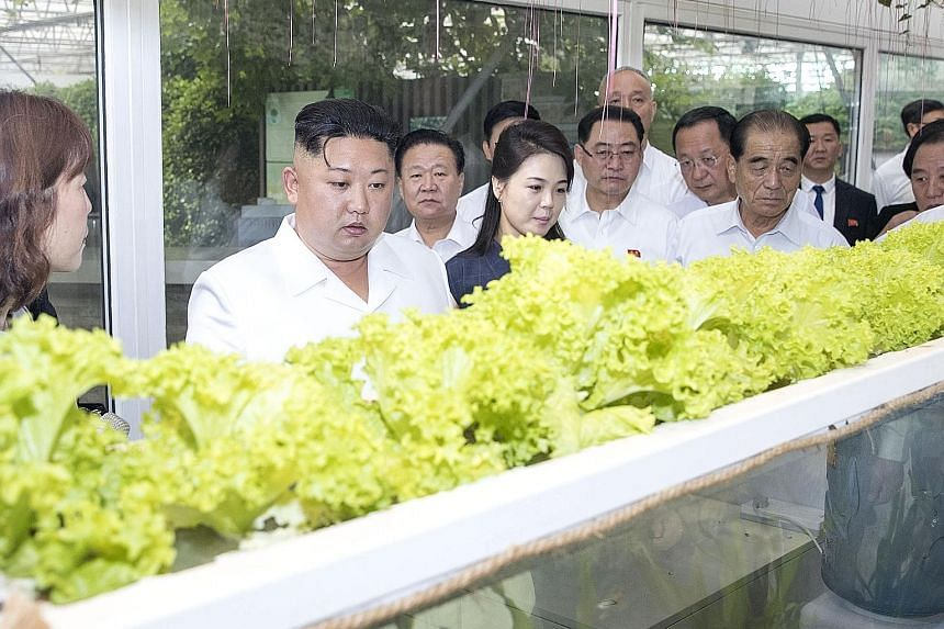 Mr Kim (second from left) and wife Ri Sol Ju (left) meeting Chinese President Xi Jinping and wife Peng Liyuan at the Diaoyutai state guest house yeterday. North Korean leader Kim Jong Un at a national agricultural sciences park under the Chinese Acad