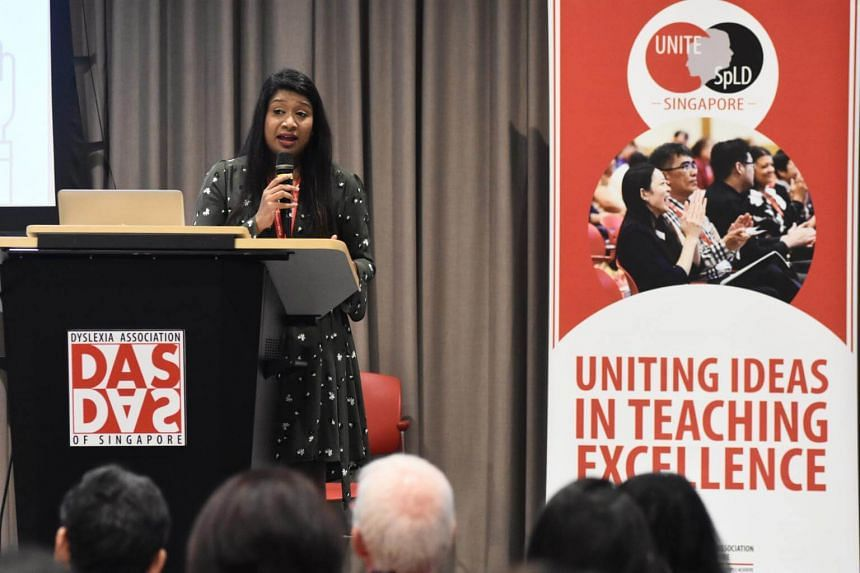 Ms Geetha Shantha Ram, director of English language and literacy programmes at the Dyslexia Association of Singapore, delivers a keynote presentation on educational technologies at the Uniting Ideas in Teaching Excellence: Specific Learning Differenc