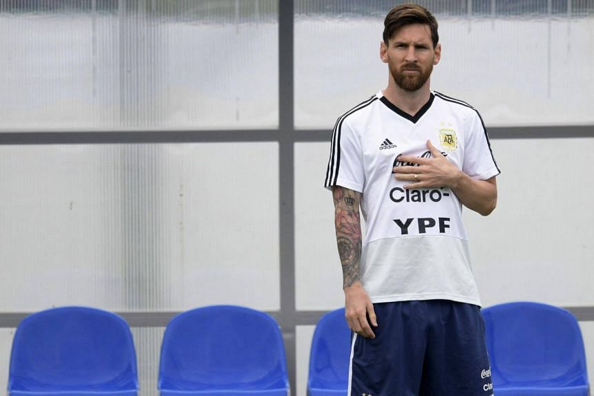 Argentina's forward Lionel Messi attends a training session at the team's base camp in Bronnitsy, near Moscow, on June 19, 2018.
