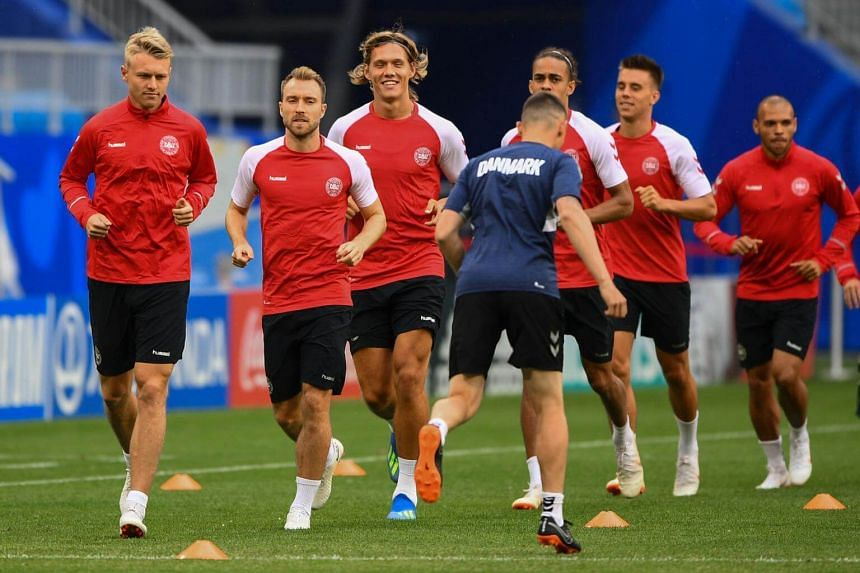 Denmark's players take part in a training session at the Samara Arena in Samara, on June 20, 2018, ahead of the World Cup clash with Australia.