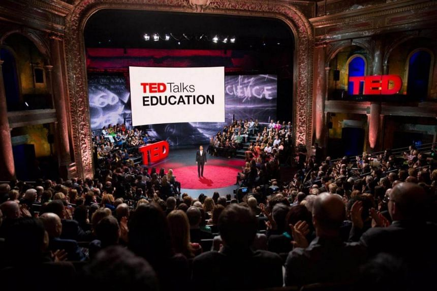File photo showing a speaker engaging an audience during a TED Talk on education.