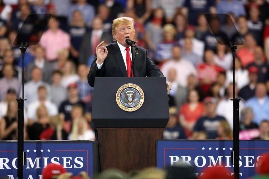 US President Donald Trump speaks during a rally in Duluth, Minnesota, on June 20, 2018.