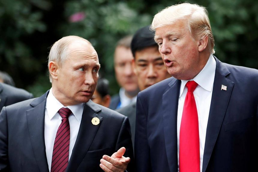 US President Donald Trump (right) has had two meetings with Russian counterpart Vladimir Putin last summer at the G-20 summit in Hamburg, Germany.