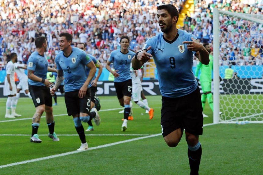 Luis Suarez of Uruguay celebrates after scoring a goal during the World Cup match against Saudi Arabia in Rostov-On-Don, Russia, on June 20, 2018.