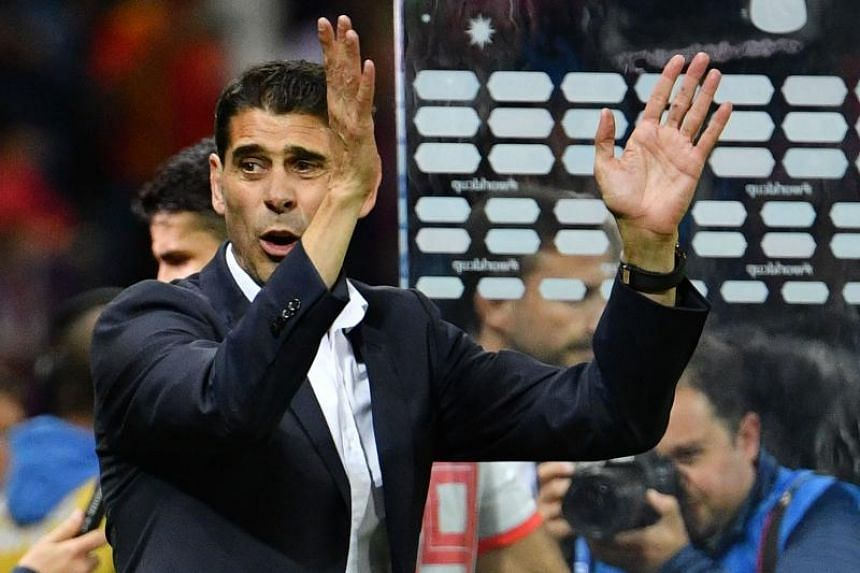 Spain's coach Fernando Hierro celebrating their harrowing win against Iran in the Russia 2018 World Cup Group B football match at the Kazan Arena in Kazan, on June 20, 2018.