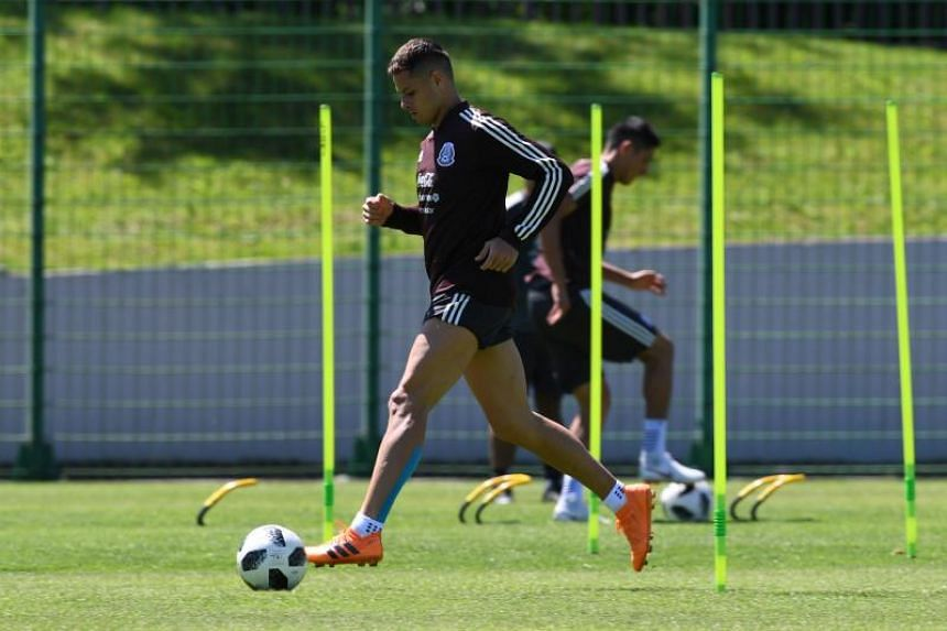 Mexico's forward Javier Hernandez training outside Moscow for the Russia 2018 World Cup football, on June 20, 2018.