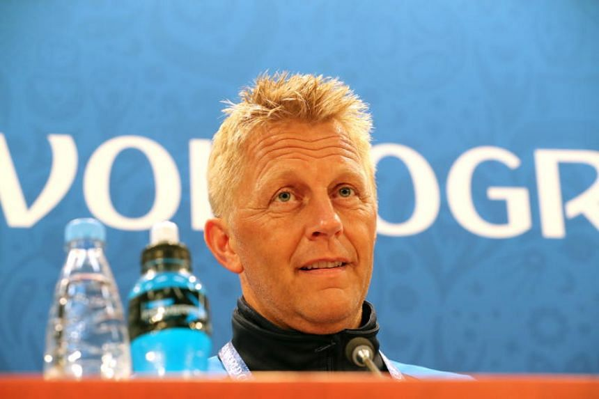 Iceland's coach Heimir Hallgrimsson attends a press conference in Volgograd, Russia, on June 21, 2018.