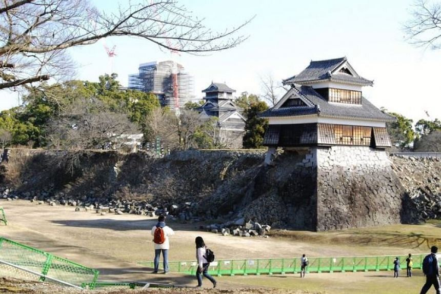 The spectacular collapse came amid a 20-year project to repair damage to Kumamoto Castle following a series of devastating quakes in April 2016.