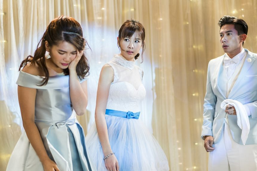 (From left) Geraldine Gan, Amber An and Desmond Tan in The Big Day.