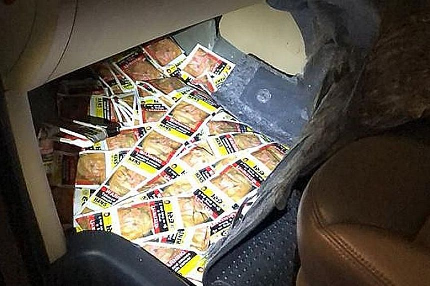 Chewing tobacco sachets were hidden in compartments under the front passenger floor mat, in the boot and inside door panels.
