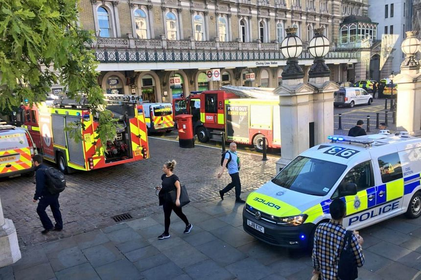 Police and fire engines were at the scene at London's Charing Cross railway station, on June 22, 2018, where a man claimed he had a bomb.