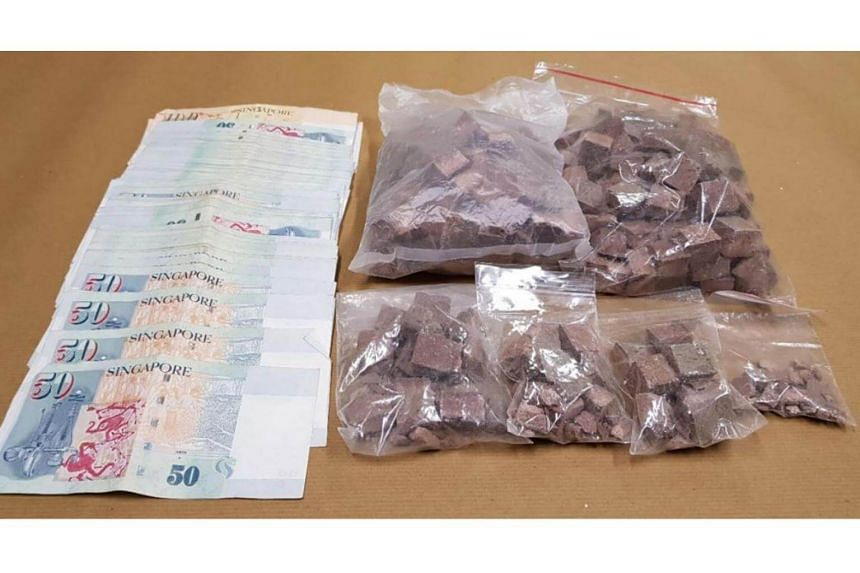 1.1kg of heroin, estimated to be worth more than $78,000, and cash were seized in the CNB operation on June 21, 2018.