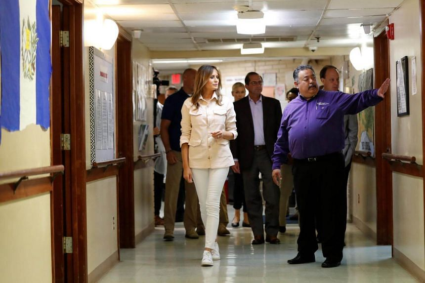 First Lady Melania Trump tours the Lutheran Social Services of the South Upbring New Hope Children's Center near the US-Mexico border in McAllen Texas, on June 21, 2018.