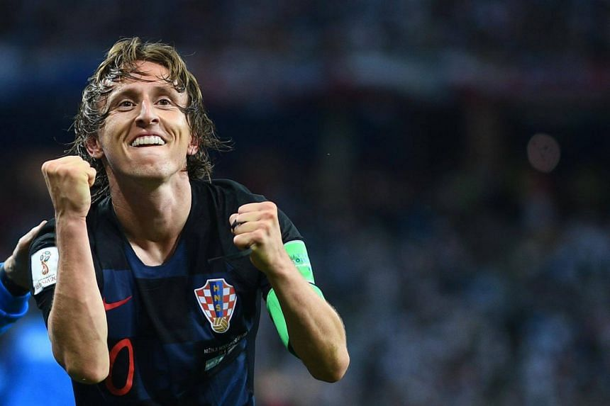 Croatia's Luka Modric celebrates after scoring their second goal during their Russia 2018 World Cup Group D football match against Argentina, on June 21, 2018.