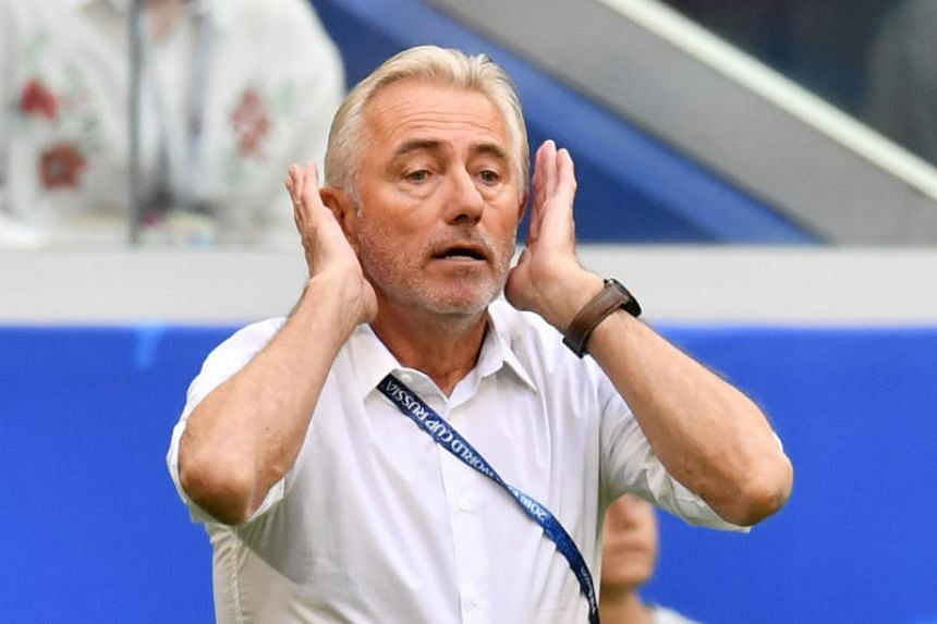 Australia's coach Bert van Marwijk gestures on the touchline during the Russia 2018 World Cup Group C football match between Denmark and Australia at the Samara Arena in Samara on June 21, 2018.