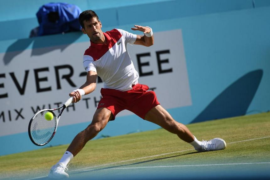 Novak Djokovic of Serbia during their Round of sixteen tennis match at the Fever Tree Championship at Queen's Club in London, Britain, on June 21, 2018.