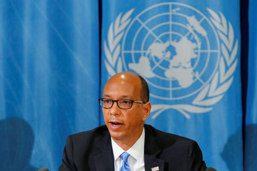 US ambassador to the Conference on Disarmament Robert Wood attends a news conference at the United Nations in Geneva on April 19, 2018.