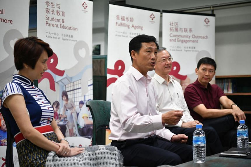 (Left to right) Ms Low Yen Ling, Senior Parliamentary Secretary for Education and Manpower and member of CDAC board of directors, Mr Ong Ye Kung, Education Minister and chairman of CDAC, Mr Sam Tan, Minister of State for Foreign Affairs and Social an
