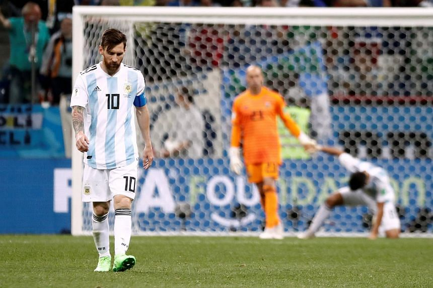 Argentina's Lionel Messi looking dejected during the Group D football match against Croatia at the Nizhny Novgorod Stadium, Nizhny Novgorod, in Russia, on June 21, 2018.