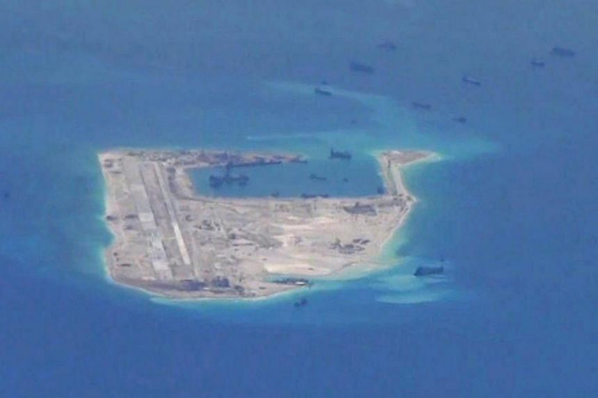 The Fiery Cross Reef in the disputed Spratly Islands. Malaysia has conflicting claims with China, which has laid claim to almost the entire South China Sea.