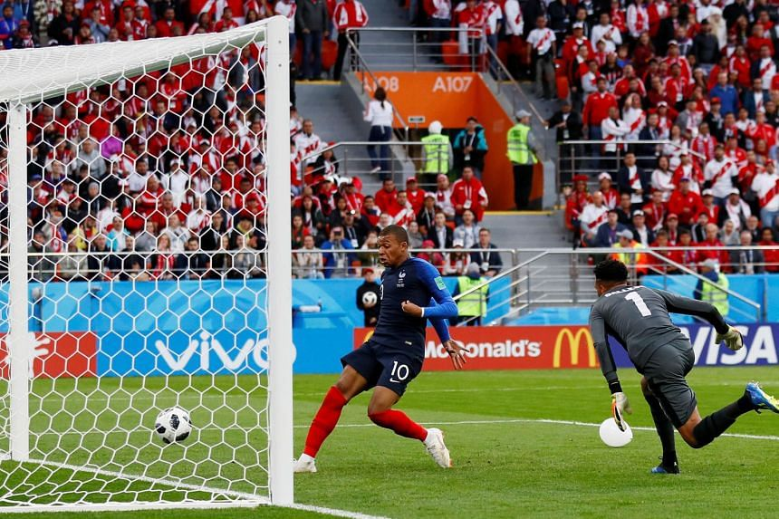 Kylian Mbappe tapping into an empty net after Peru goalkeeper Pedro Gallese left his line in an attempt to block a shot from Olivier Giroud. The French forward's goal earned Les Bleus another narrow one-goal victory after their opening 2-1 win over