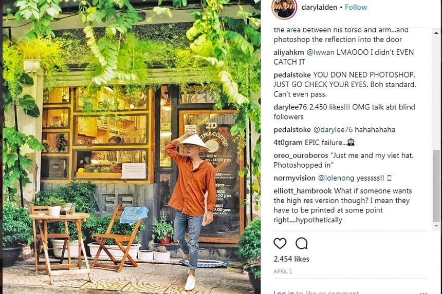 A picture uploaded by Mr Daryl Aiden Yow on his Instagram account in April (above) appears to be a doctored version of a photo (left) uploaded to image-hosting site Flickr in 2014.