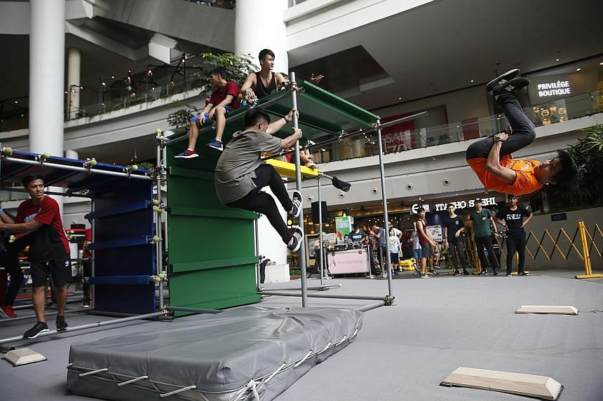 Parkour enthusiasts worldwide are expected to gather at The Star Vista where obstacles have been set up.