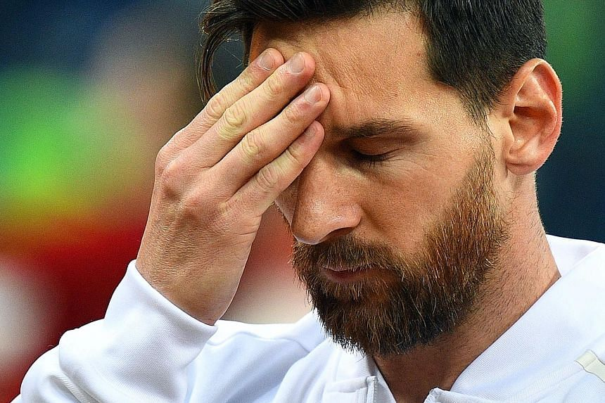 Lionel Messi looking unsettled before Argentina's match against Croatia in Nizhny Novgorod on Thursday. He failed to rally his troops and his performance was below par.
