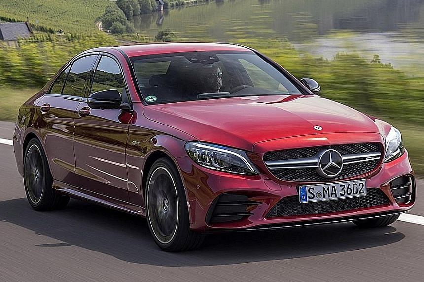 The Mercedes-AMG C43 sports a revised front apron and additional flics and side air curtains, which combine with the rear apron and more pronounced rear diffuser to improve airflow under and around the car.