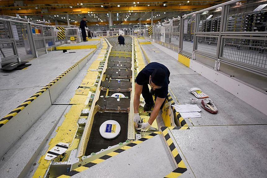 An Airbus wing-production line in Broughton. The firm supports a massive supply chain in Britain with its wing-making operation.