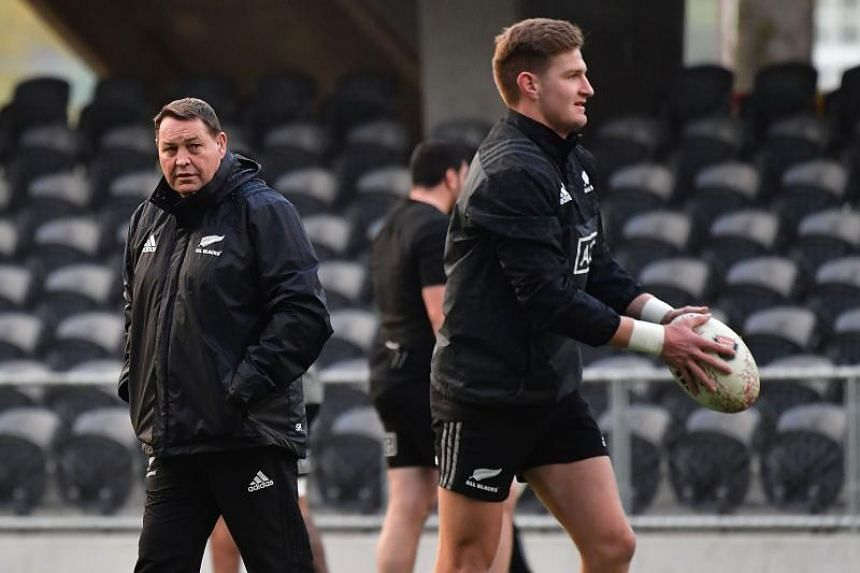 All Blacks coach Steve Hansen (left) and player Jordie Barrett attend a training session at the Forsyth Barr Stadium in Dunedin on June 21, 2018.