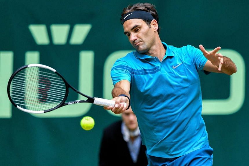 Roger Federer in action during his semi-finals match against Denis Kudla at the ATP Halle grass-court tournament in Halle Westphalia, Germany, on June 23, 2018.