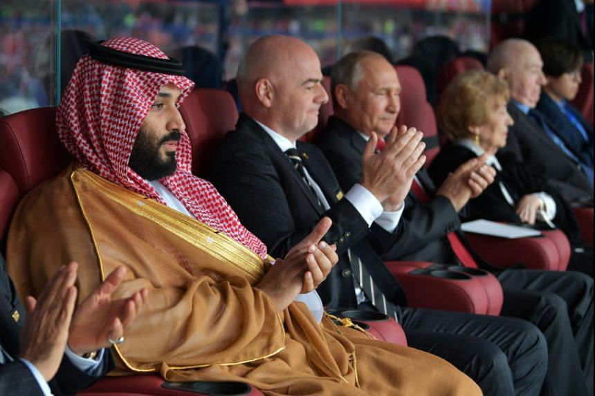(From left) Saudi Arabia's Crown Prince Mohammad bin Salman, Fifa president Gianni Infantino and Russian President Vladimir Putin attend the opening ceremony before the Fifa World Cup 2018 group A preliminary round soccer match between Russia and Sau
