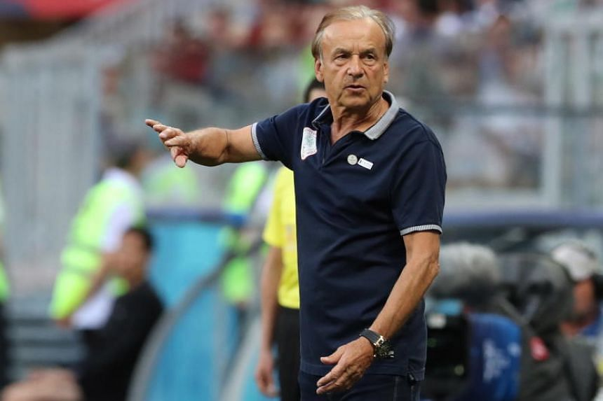 Nigeria's coach Gernot Rohr reacts during the Fifa World Cup 2018 group D preliminary round soccer match between Nigeria and Iceland in Volgograd, Russia, on June 22, 2018.